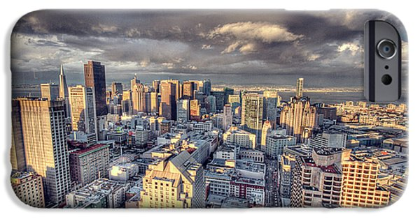 City Scape Digital Art iPhone Cases - Downtown San Francisco iPhone Case by Ariane Moshayedi