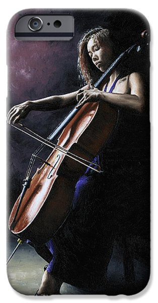 Emotion Paintings iPhone Cases - Emotional Cellist iPhone Case by Richard Young