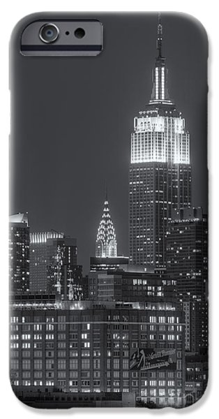 Landmarks Photographs iPhone Cases - Empire State and Chrysler Buildings at Twilight II iPhone Case by Clarence Holmes