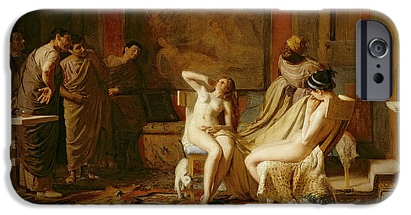 Roman Emperor iPhone Cases - Female Slaves Presented to Octavian iPhone Case by Remy Cogghe