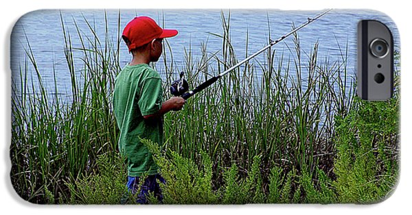 Mounds iPhone Cases - Fishing at Hickory Mound iPhone Case by Marilyn Holkham