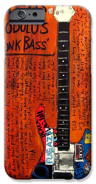 Red Hot Chili Peppers Paintings iPhone Cases - Flea Modulus Punk Bass iPhone Case by Karl Haglund
