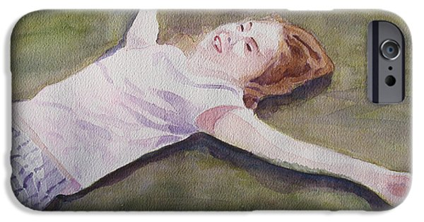 Figures Paintings iPhone Cases - Floating on the Lawn iPhone Case by Jenny Armitage