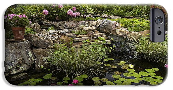 Water Lilly iPhone Cases - Garden Pond - D001133 iPhone Case by Daniel Dempster