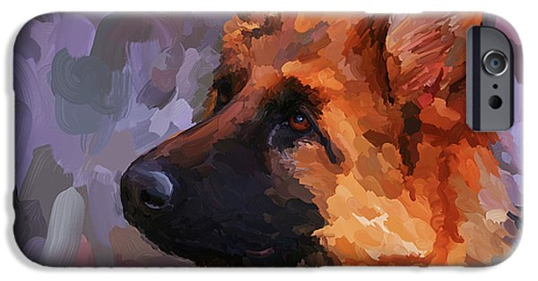 Police Paintings iPhone Cases - German Shepherd 2 - Square iPhone Case by Jai Johnson
