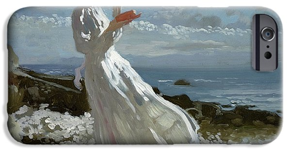Pebbles iPhone Cases - Grace reading at Howth Bay iPhone Case by Sir William Orpen