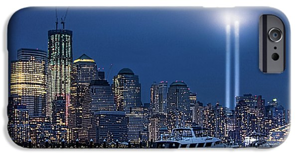 Hudson River Digital iPhone Cases - Ground Zero Tribute Lights and the Freedom Tower iPhone Case by Chris Lord
