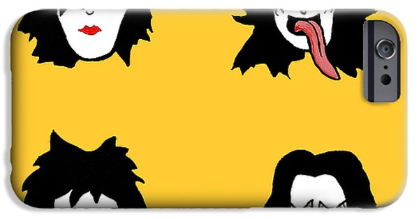 Animation iPhone Cases - Kiss on yellow iPhone Case by Jera Sky