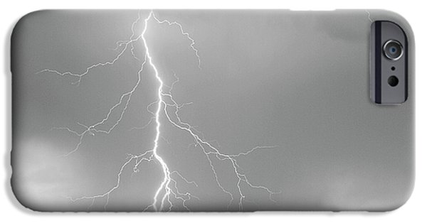 July iPhone Cases - Lightning Strike Colorado Rocky Mountain Foothills BW iPhone Case by James BO  Insogna