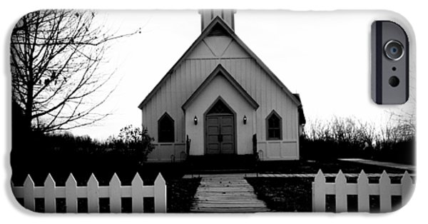 Concept Digital Art iPhone Cases - Little Church B and W iPhone Case by Julie Hamilton