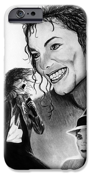 Michael Jackson Sketch iPhone Cases - Michael Jackson Faces to Remember iPhone Case by Peter Piatt
