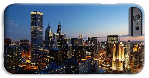 Chicago iPhone Cases - Night Falls on Chicago - D001087 iPhone Case by Daniel Dempster