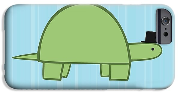 Reptiles Digital iPhone Cases - Nursery Art Boy Turtle iPhone Case by Christy Beckwith