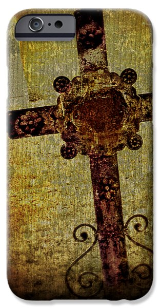 Grave Yard iPhone Cases - Old Cross iPhone Case by Perry Webster