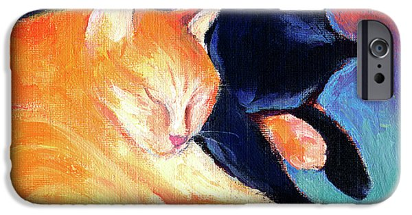 Animal Drawings iPhone Cases - Orange and Black tabby cats sleeping iPhone Case by Svetlana Novikova
