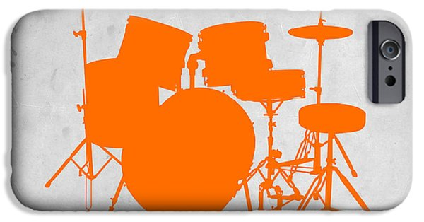 Set iPhone Cases - Orange Drum Set iPhone Case by Naxart Studio