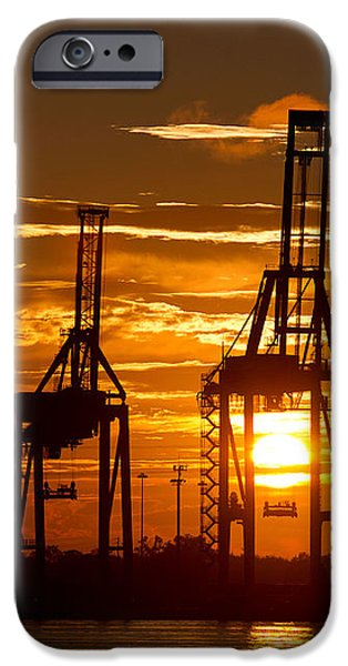 Container iPhone Cases - Port of Charleston Sunset II  iPhone Case by Dustin K Ryan