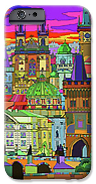 Town Mixed Media iPhone Cases - Prague Panorama Old Town iPhone Case by Yuriy  Shevchuk
