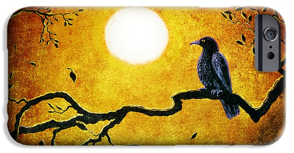 Crows Digital Art iPhone Cases - Raven in Golden Splendor iPhone Case by Laura Iverson