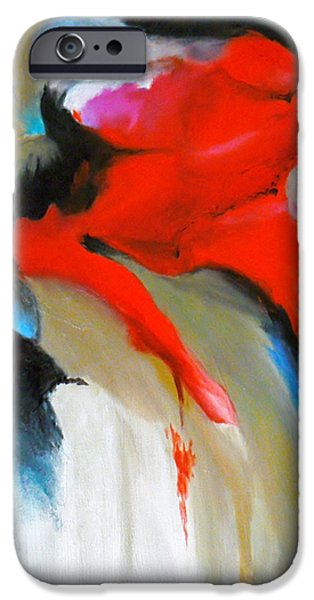 Free Form Paintings iPhone Cases - Red Abstract iPhone Case by Jamie Frier
