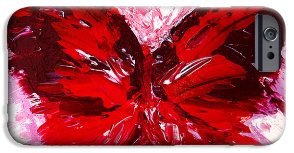 Abstract Expressionist iPhone Cases - Red Butterfly iPhone Case by Patricia Awapara