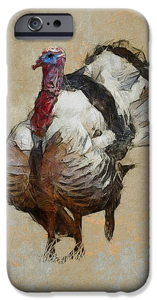 Thanksgiving Digital iPhone Cases - Royal Palm Turkey iPhone Case by Ron Jones
