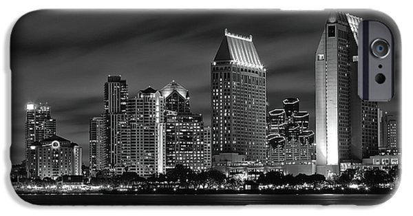 City Lights iPhone Cases - San Diego Skyline at Night  Black and White iPhone Case by Larry Marshall