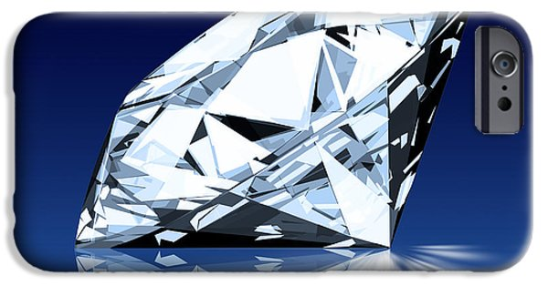 Shiny iPhone Cases - Single Blue Diamond iPhone Case by Setsiri Silapasuwanchai