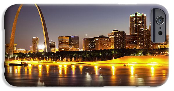 Shiny iPhone Cases - St Louis Skyline iPhone Case by Bryan Mullennix