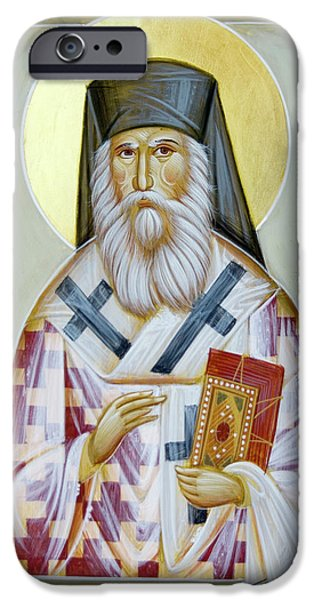 St Nektarios Icon iPhone Cases - St Nektarios of Aigina II iPhone Case by Julia Bridget Hayes