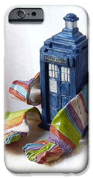 Ceramic Mixed Media iPhone Cases - Tardis ll iPhone Case by Rhonda Chase