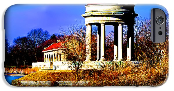 Franklin iPhone Cases - The Gazebo and Boathouse at Franklin Delano Roosevelt Park iPhone Case by Bill Cannon