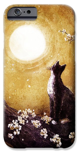 Cherry Blossoms iPhone Cases - Tuxedo Cat in Golden Cherry Blossoms iPhone Case by Laura Iverson