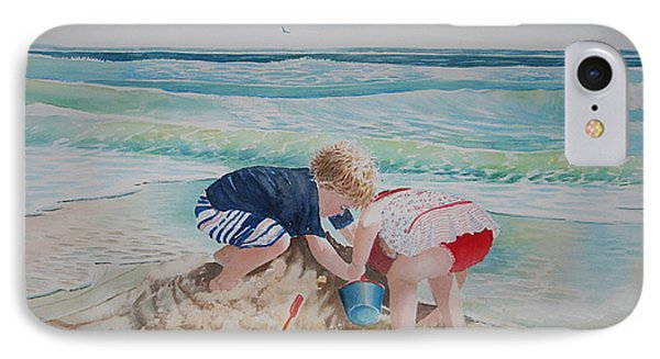 Saving The Sand Castle From The Tide IPhone Case by Tom Harris