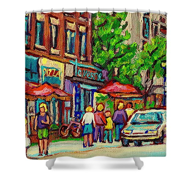 Monkland Tavern Corner Old Orchard Montreal Street Scene Painting Shower Curtain by Carole Spandau