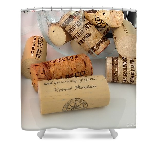 Corks Shower Curtain by Cheryl Young