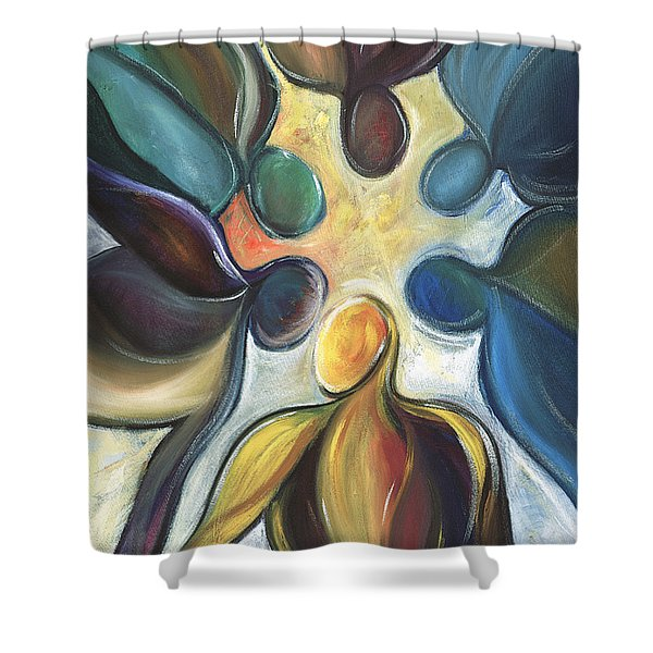 In The Huddle Shower Curtain by Kristye Addison Dudley