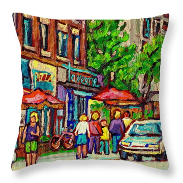Monkland Tavern Corner Old Orchard Montreal Street Scene Painting Throw Pillow by Carole Spandau