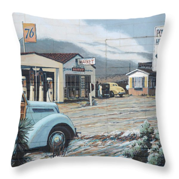 29 Palms Flood Mural Throw Pillow by Bob Christopher