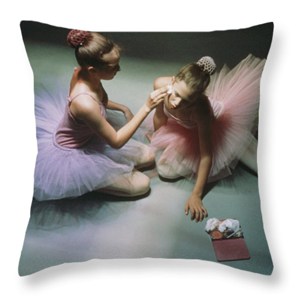 Ballerinas Get Ready For A Performance Throw Pillow by Richard Nowitz