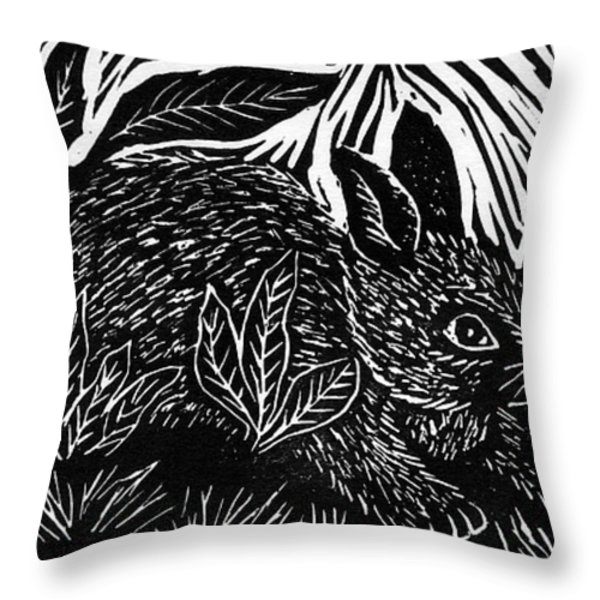 Cottontail Block Print Throw Pillow by Ellen Miffitt