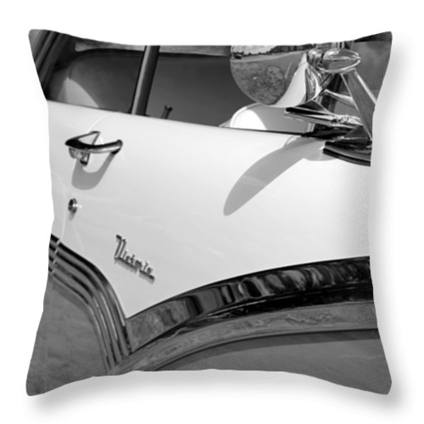 Creative Chrome - 1956 Ford Fairlane Victoria Throw Pillow by Betty Northcutt