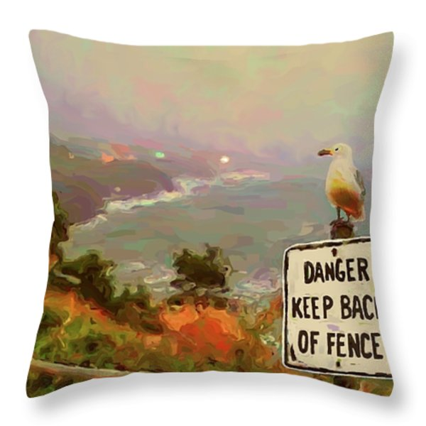 Depoe Bay Security Guard Throw Pillow by Methune Hively
