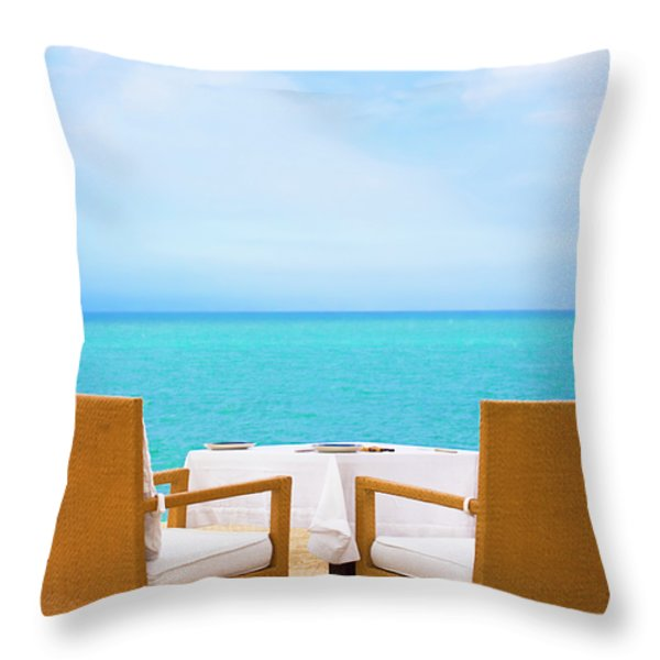 Dinner On The Beach Throw Pillow by MotHaiBaPhoto Prints