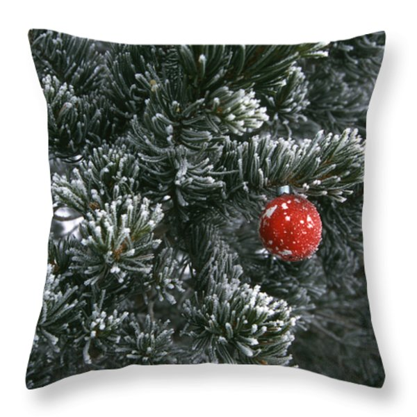 Holiday Ornament Hanging On Snow Dusted Throw Pillow by Kate Thompson