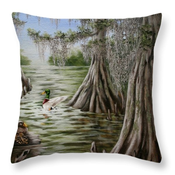 Mallards Throw Pillow by Ruth Bares