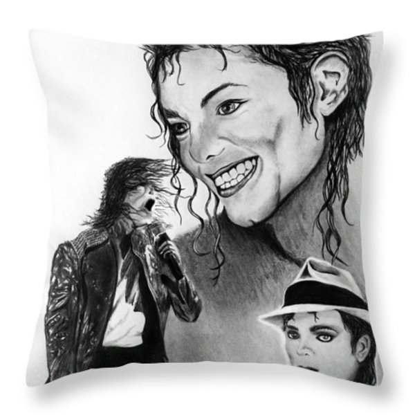 Michael Jackson Faces To Remember Throw Pillow by Peter Piatt