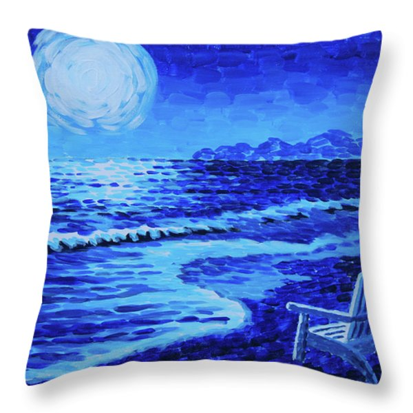 Moon Beach Throw Pillow by Tommy Midyette