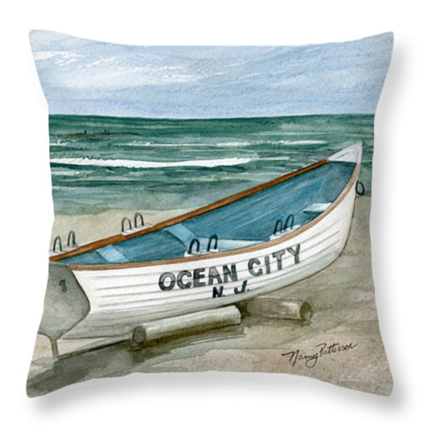 Ocean City Lifeguard Boat Throw Pillow by Nancy Patterson