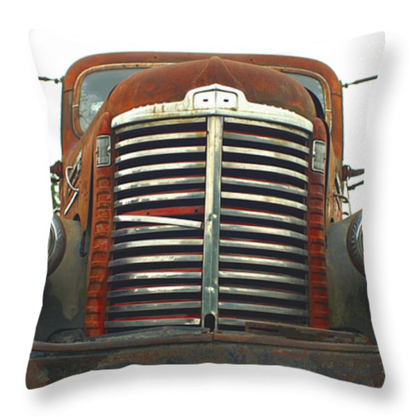 Old International Gravel Truck Throw Pillow by Randy Harris